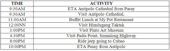 Diy antipolo trip 5 destinations for p1000 think happy thoughts itinerary1 thecheapjerseys Image collections